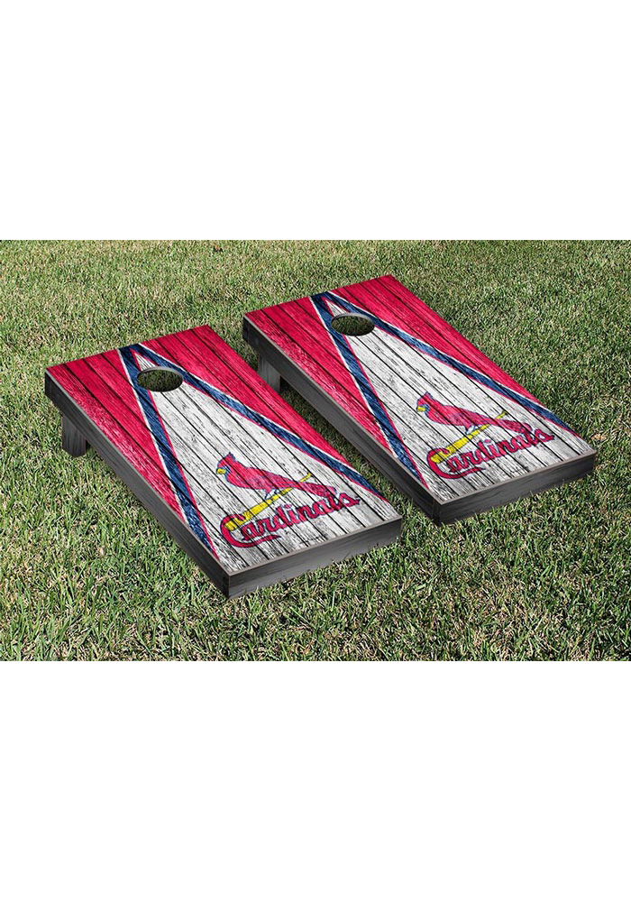 St Louis Cardinals Triangle Weathered Version Cornhole Tailgate Game - Image 1