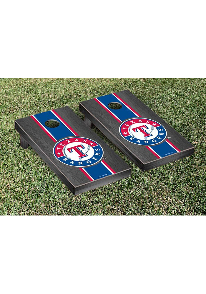 Texas Rangers Onyx Stained Stripe Version Cornhole Tailgate Game - Image 1
