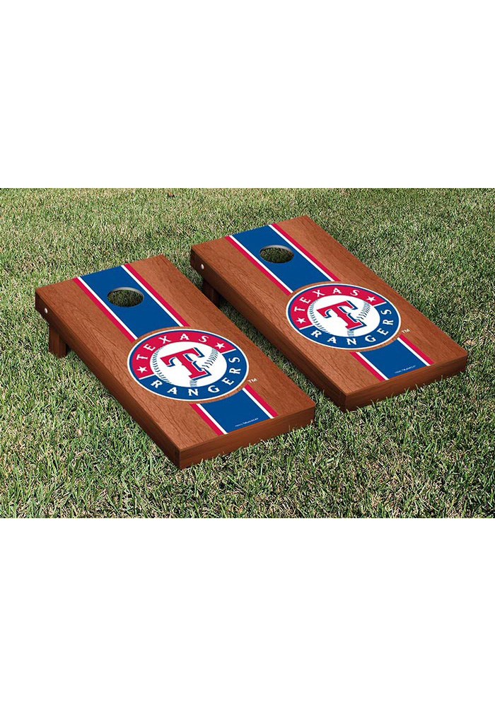 Texas Rangers Rosewood Stained Stripe Version Cornhole Tailgate Game - Image 1