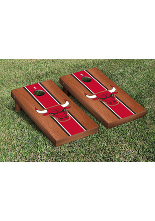 Chicago Bulls Rosewood Stained Stripe Version Cornhole Tailgate Game