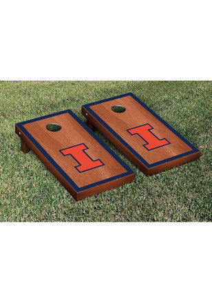 Illinois Fighting Illini Rosewood Stained Border Version Cornhole Tailgate Game