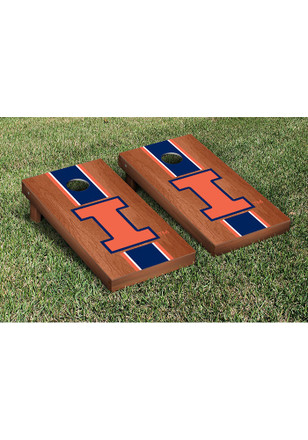Illinois Fighting Illini Rosewood Stained Stripe Version Cornhole Tailgate Game