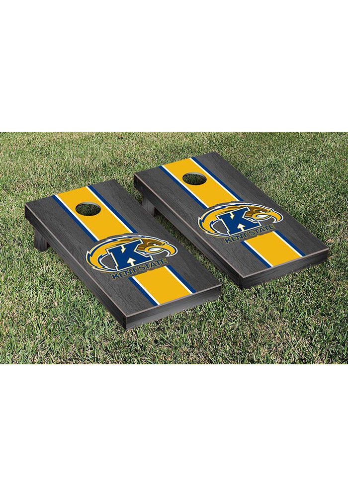 Kent State Golden Flashes Onyx Stained Stripe Version Cornhole Tailgate Game - Image 1