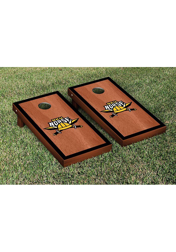 Northern Kentucky Norse Rosewood Stained Border Version Cornhole Tailgate Game - Image 1