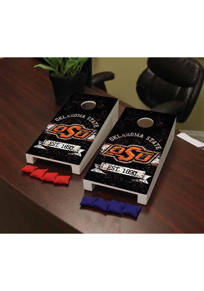 Oklahoma State Cowboys Banner Vintage Version Cornhole Game Desk Accessory - Image 1