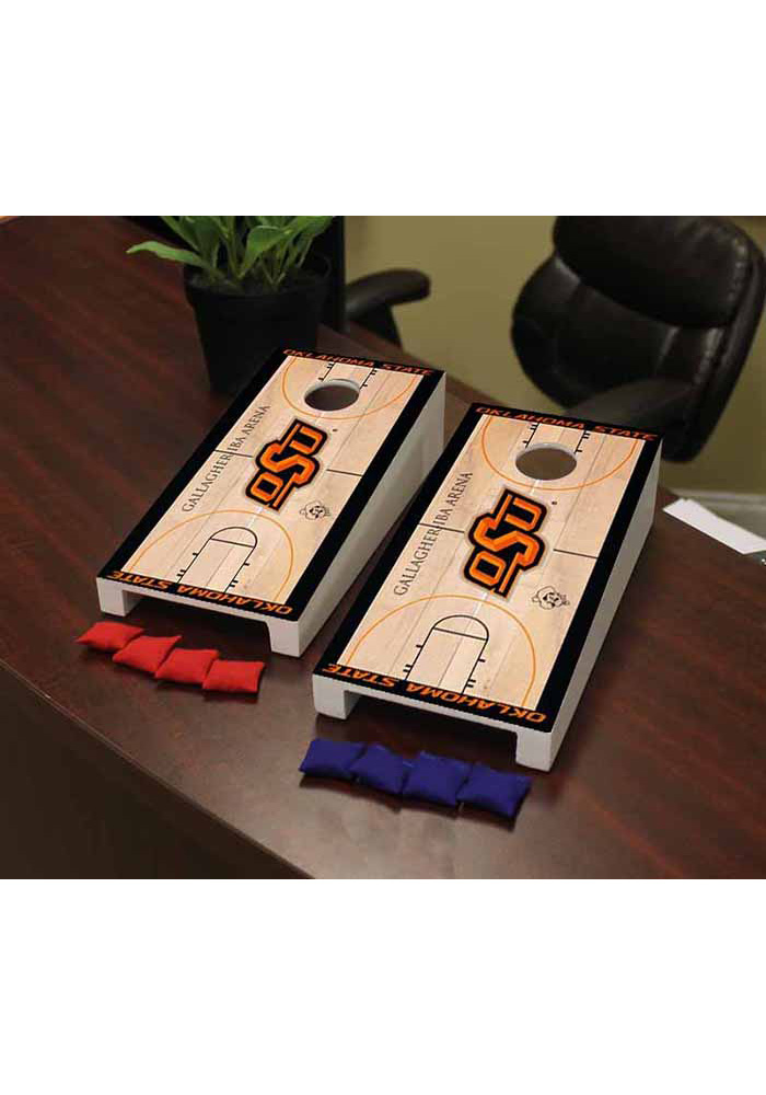 Oklahoma State Cowboys Basketball Court Version Cornhole Game Desk Accessory - Image 1