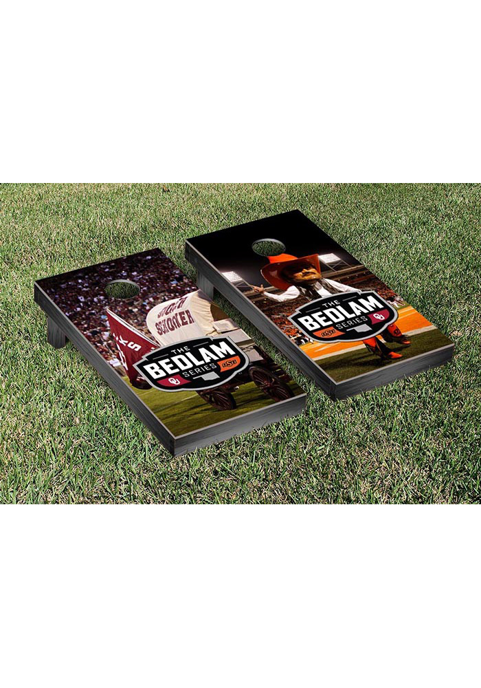 Oklahoma State Cowboys Bedlam Series Rivalry Version Cornhole Game Desk Accessory - Image 1