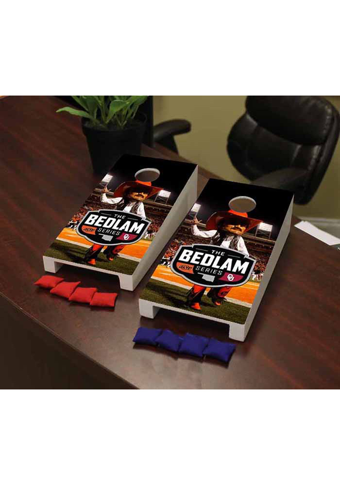 Oklahoma State Cowboys Bedlam Series Rivalry Split Version Cornhole Game Desk Accessory - Image 1