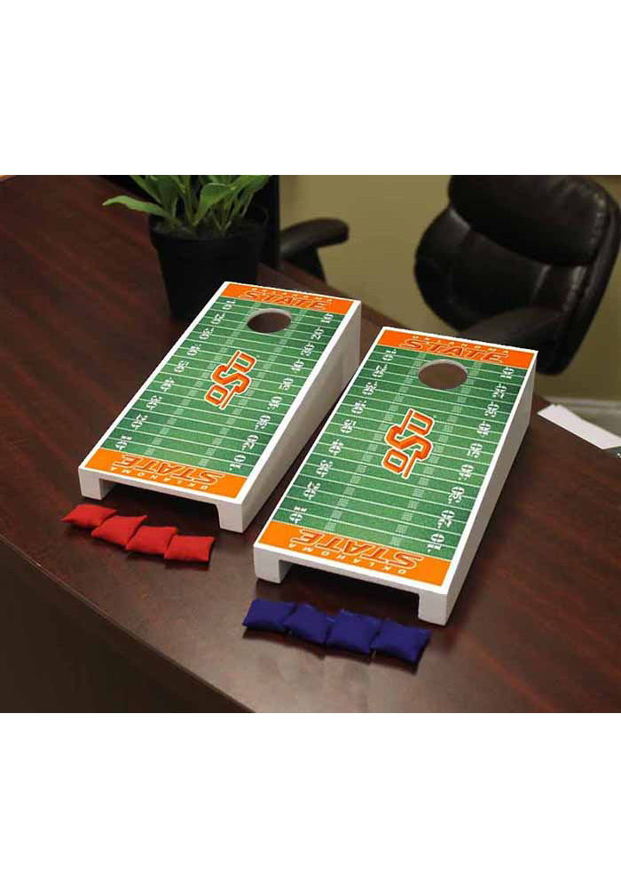 Oklahoma State Cowboys Football Field Version Cornhole Game Desk Accessory - Image 1
