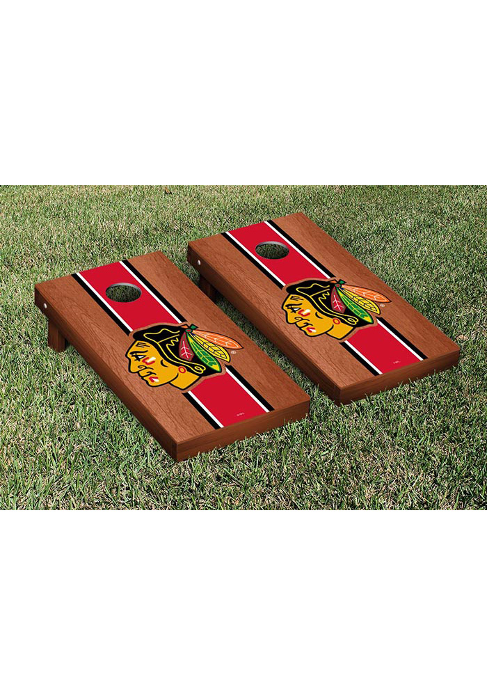 Chicago Blackhawks Rosewood Stained Stripe Version Cornhole Tailgate Game - Image 1