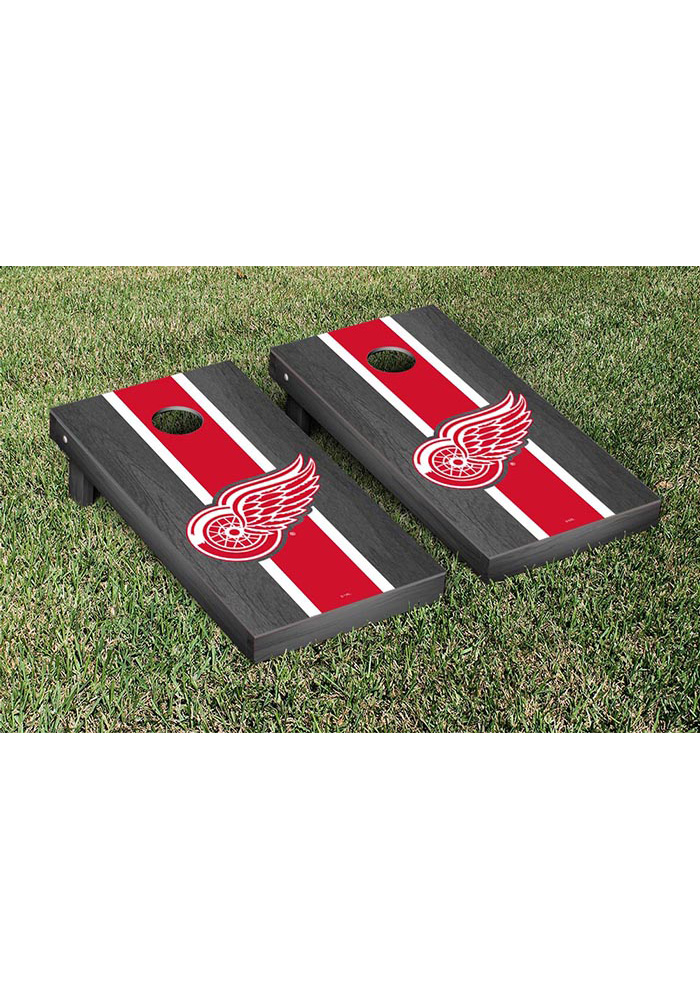 Detroit Red Wings Onyx Stained Stripe Version Cornhole Tailgate Game - Image 1