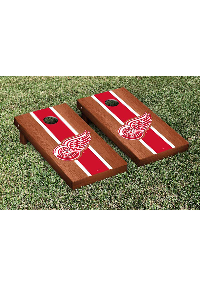 Detroit Red Wings Rosewood Stained Stripe Version Cornhole Tailgate Game - Image 1