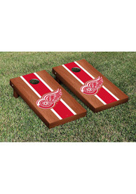 Detroit Red Wings Rosewood Stained Stripe Version Cornhole Tailgate Game