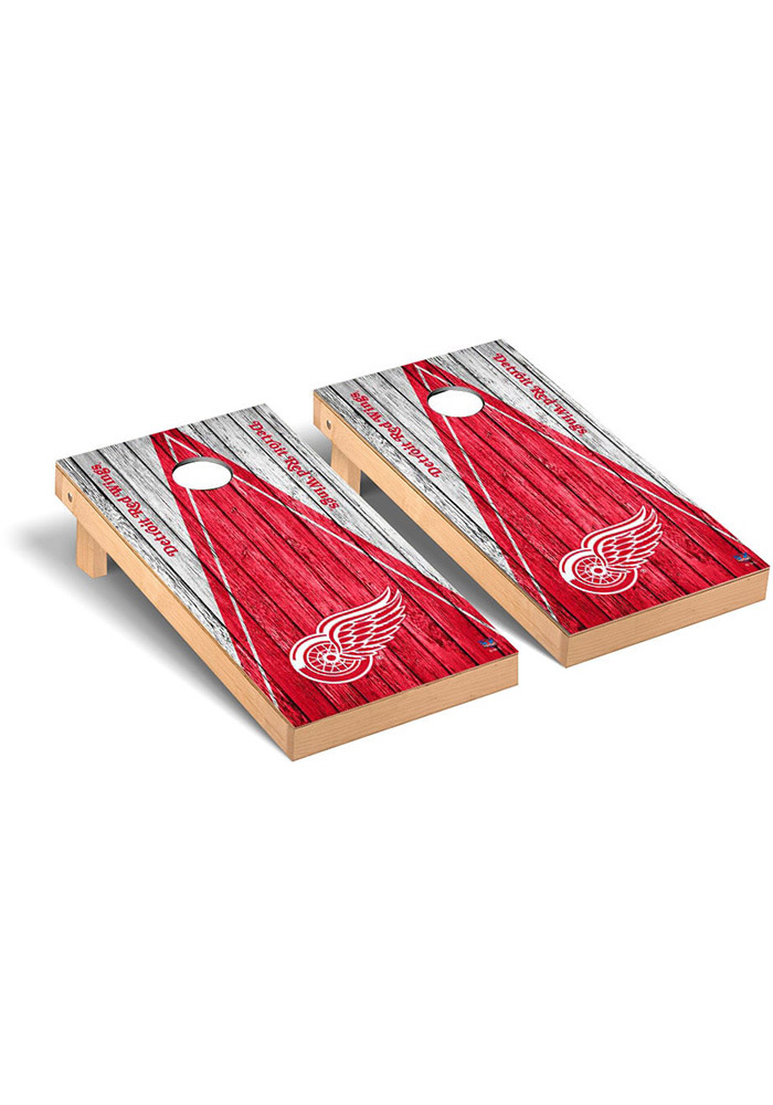 Detroit Red Wings Weathered Triangle Version Cornhole Tailgate Game - Image 1