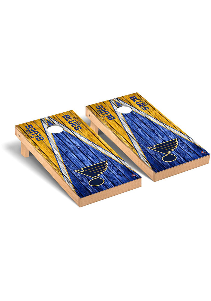 St Louis Blues Weathered Triangle Version Cornhole Tailgate Game - Image 1