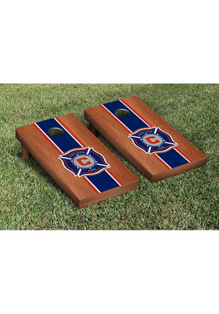 Chicago Fire Cornhole Game Set Rosewood Stained Striped