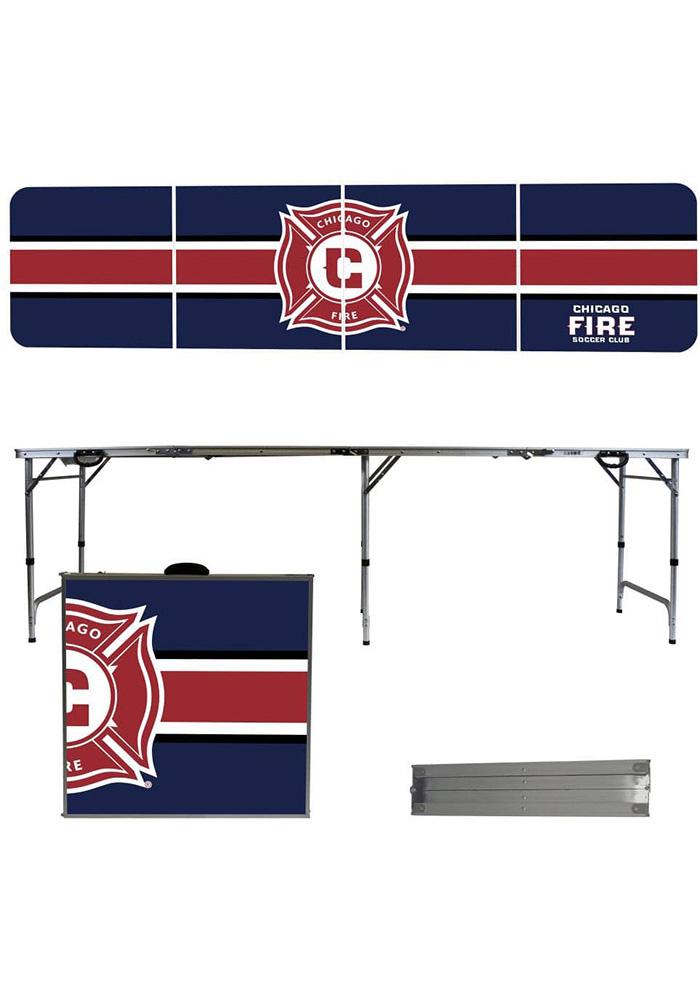 Chicago Fire 8 Foot Portable Folding Tailgate Table Stripe - Image 1