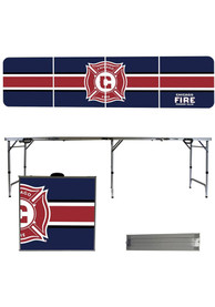 Chicago Fire 8 Foot Portable Folding Tailgate Table Stripe