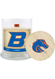 Boise State Broncos Lavender Linen 8oz Glass White Candle