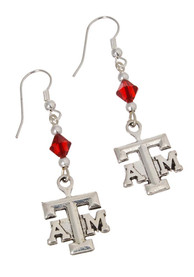 Texas A&M Aggies Womens Beaded Logo Dangle Earrings - Silver