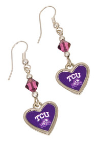 TCU Horned Frogs Womens Beaded Logo Dangle Earrings - Silver
