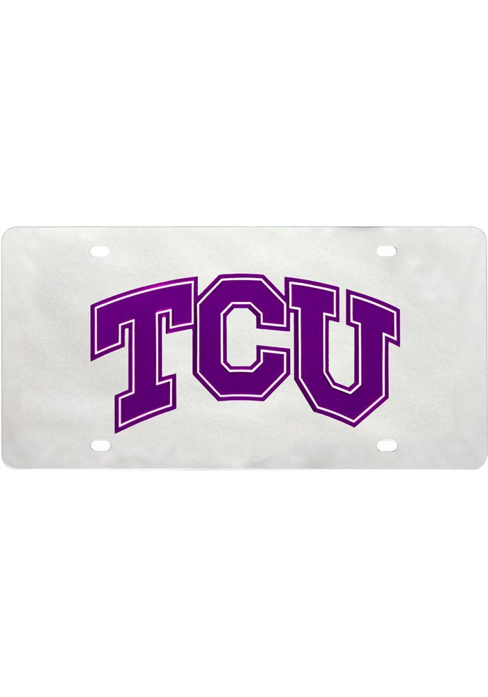 TCU Horned Frogs Silver Letters Logo Car Accessory License Plate - Image 1