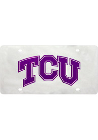 TCU Horned Frogs Silver Letters Logo Car Accessory License Plate