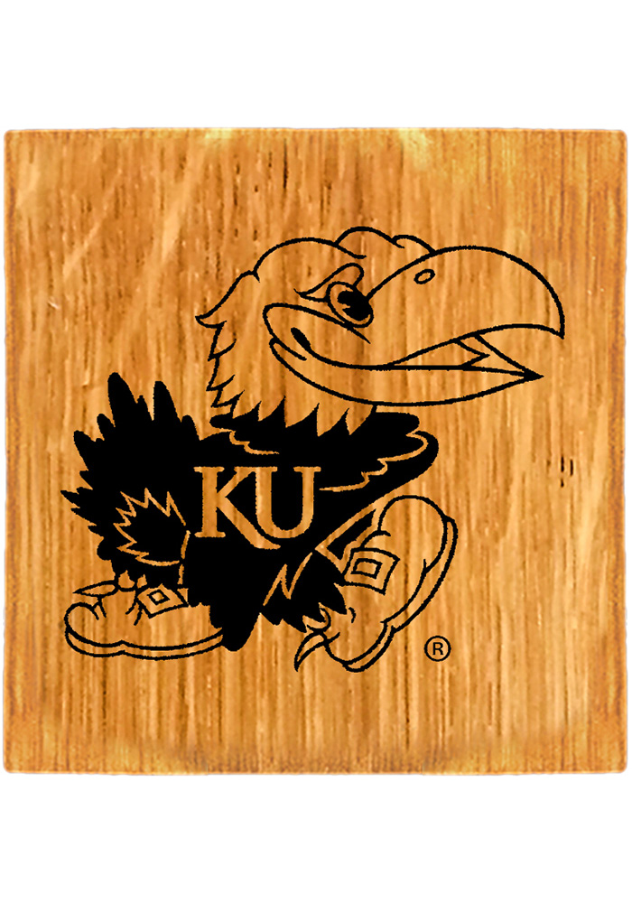 Kansas Jayhawks Barrel Stave Light Logo Coaster