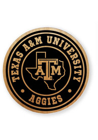 Texas A&M Aggies Alder Wood 2.75 Inch Laser Etched Round Magnet