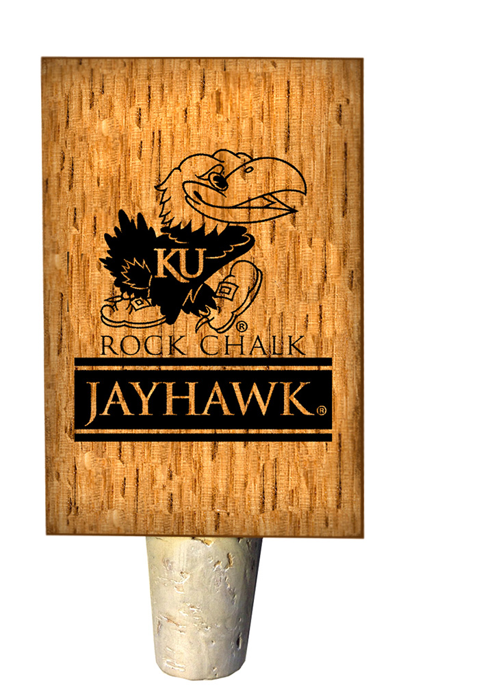 Kansas Jayhawks Rock Chalk Bottle Stop Wine Accessory