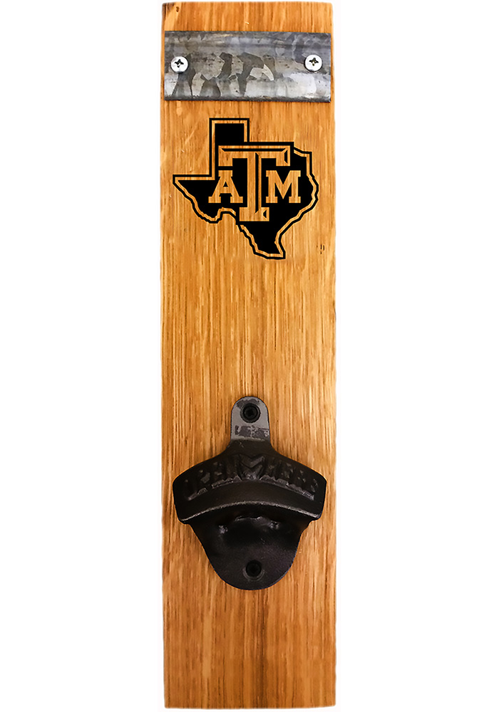 Texas A&M Aggies State Logo Barrel Stave Bottle Opener - Image 1
