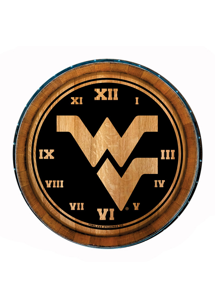 West Virginia Mountaineers Barrelhead Wall Clock - Image 1