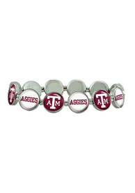 Texas A&M Aggies Womens Silver Stretch Bracelet - Red