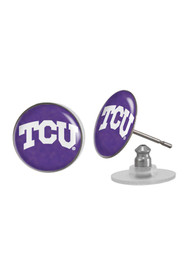 TCU Horned Frogs Womens Domed Post Earrings - Purple