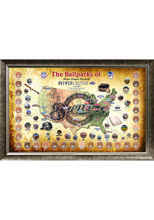 Milwaukee Brewers Major League Baseball Parks Framed Posters
