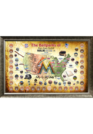 Miami Marlins Major League Baseball Parks Framed Posters