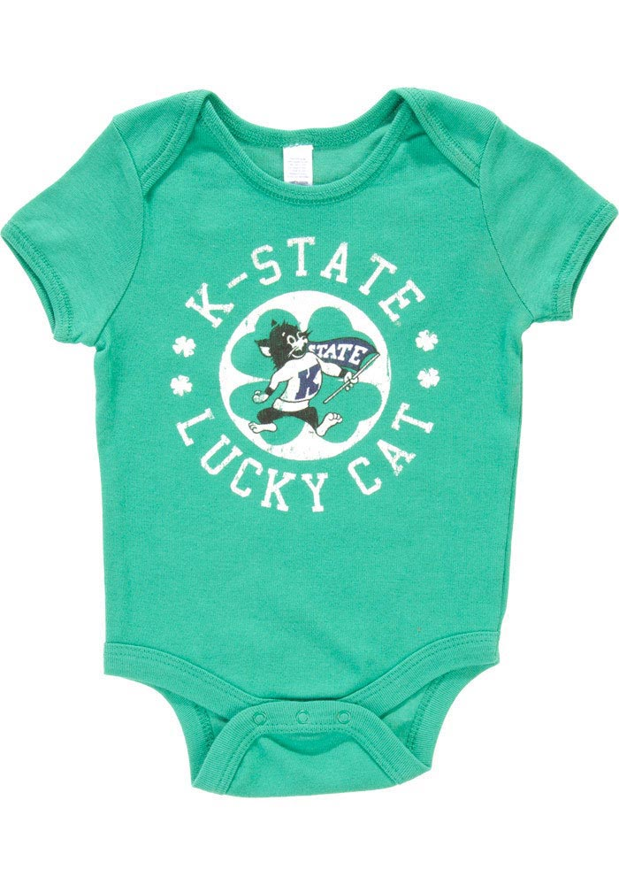 K-State Wildcats Baby Green St. Pat Circle Short Sleeve One Piece - Image 1