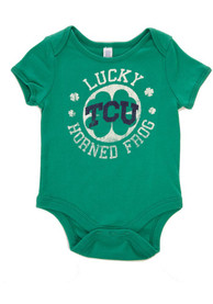 TCU Horned Frogs Baby Green St. Pat Circle One Piece