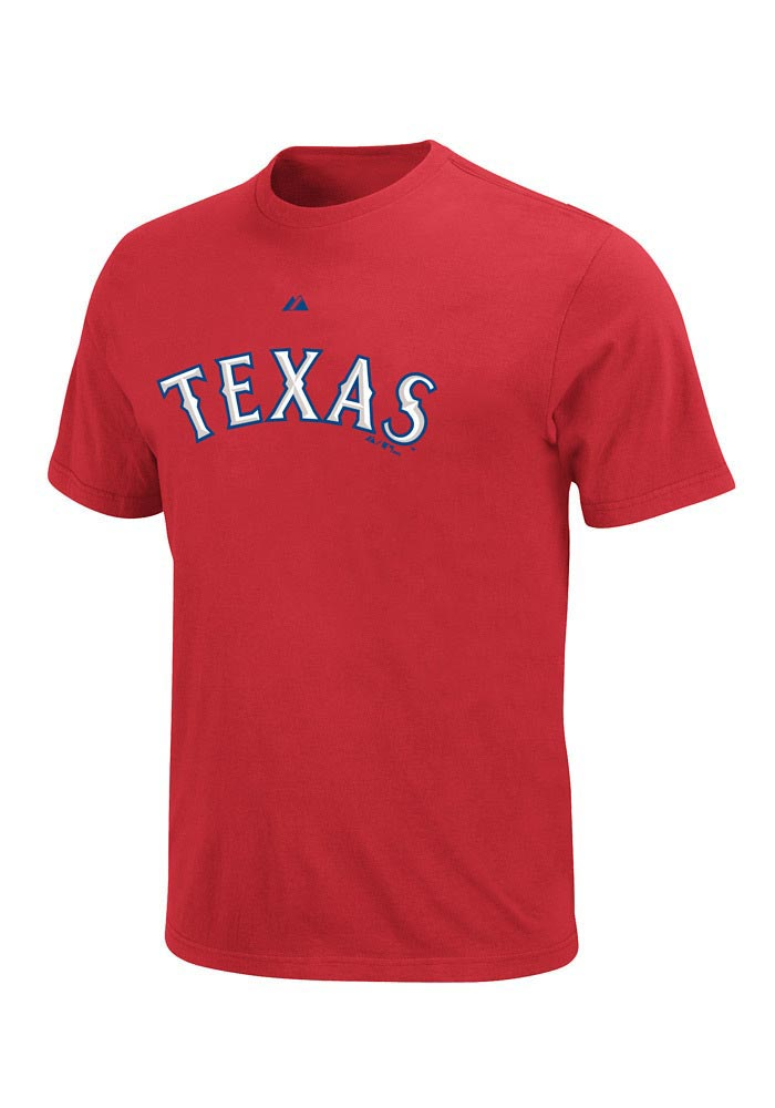 Majestic Texas Rangers Mens Red Wordmark Texas Short Sleeve T Shirt - Image 1