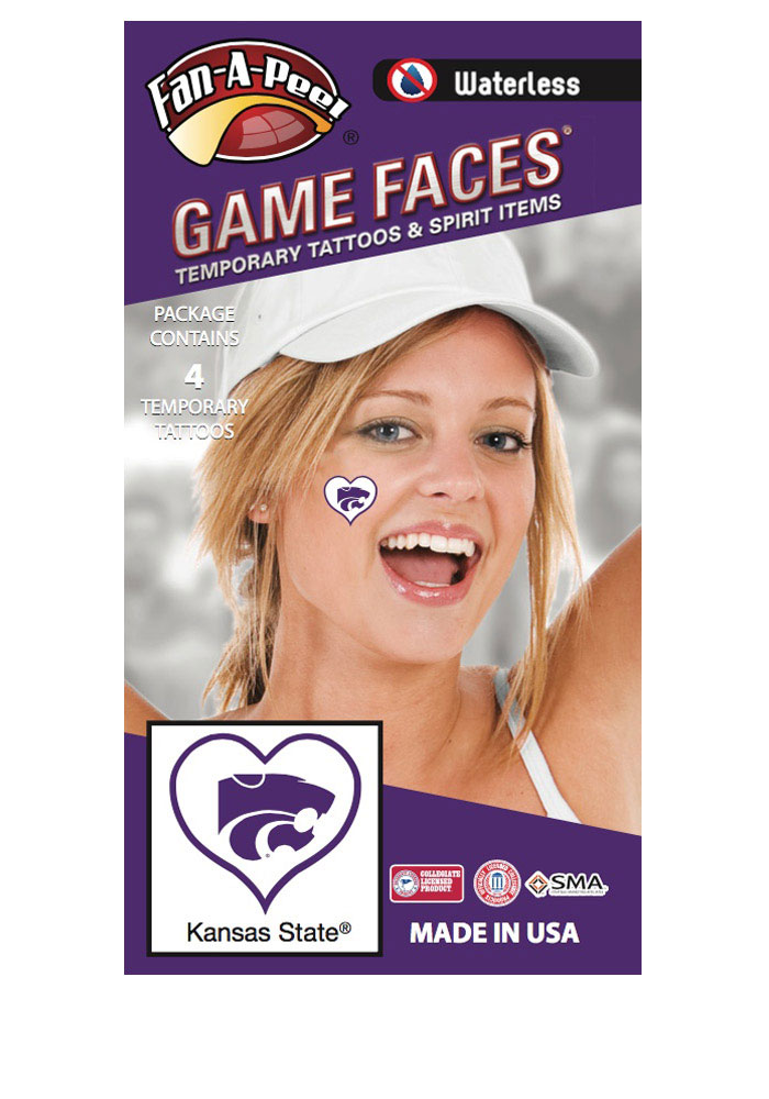 K-State Wildcats Heart 4 Pack Tattoo - Image 1