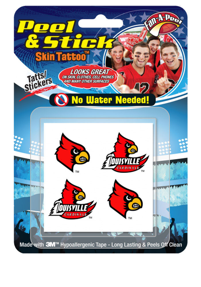 Louisville Cardinals Peel & Stick 4 Pack Tattoo - Image 1