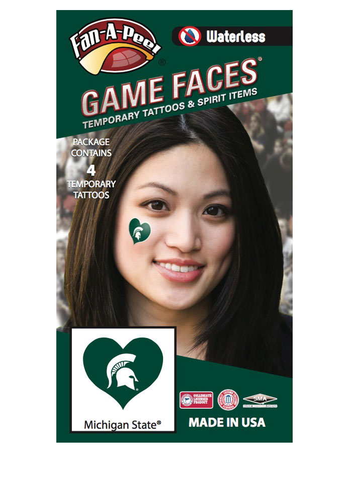 Michigan State Spartans Heart 4 Pack Tattoo