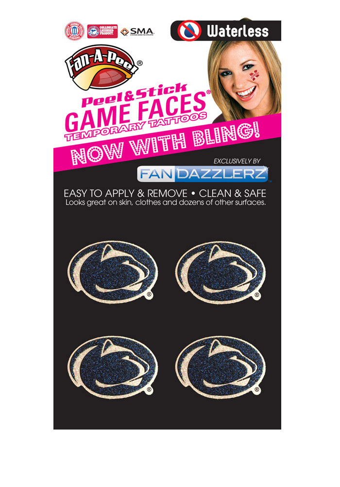 Penn State Nittany Lions 4 Pack Glitter Tattoo - Image 1