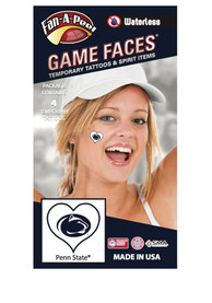 Penn State Nittany Lions Heart 4 Pack Tattoo