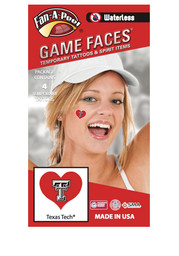 Texas Tech Red Raiders Heart 4 Pack Tattoo