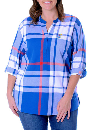 Kansas Jayhawks Womens Plaid Tunic Blue Plus Size Dress Shirt