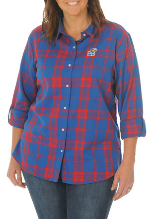 Kansas Jayhawks Womens Boyfriend Plaid Blue Plus Size Dress Shirt