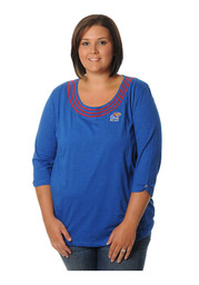 KU Jayhawks Womens Open Stitch Blue Plus Size T-Shirt