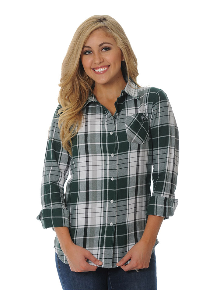 Michigan state spartans womens boyfriend plaid long sleeve for Womens green checked shirt