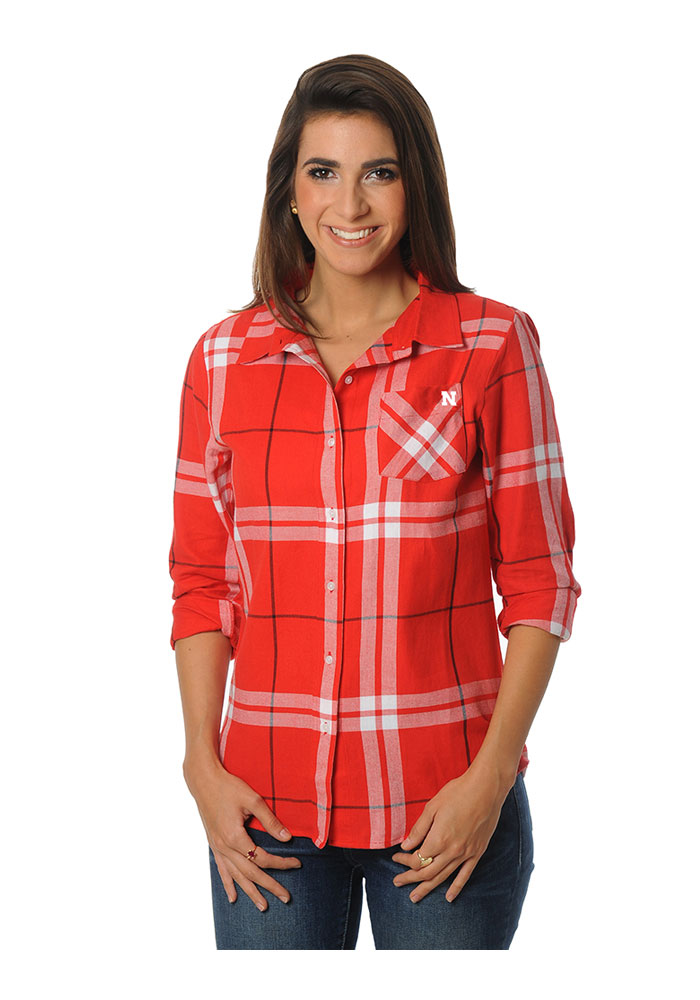 Nebraska cornhuskers womens boyfriend plaid long sleeve Womens red tartan plaid shirt